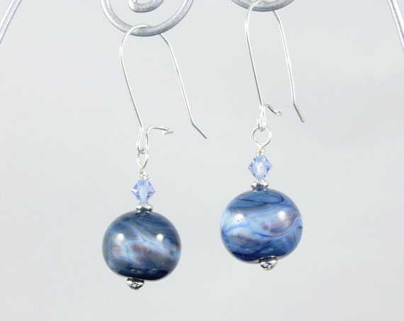 Blue Glass Earrings made with Lampwork Beads, Swarovski Crystals and Sterling Silver findings