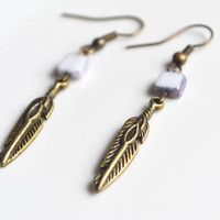 Tribal Feather Earrings. White Glass Tile Bead. Dagger Earring. Small Boho Style Earrings.