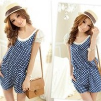 Tokyo Fashion Summer Polka Dots Romper Blue