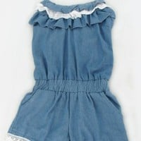 Frilly Collar Lace Romper Deep Blue
