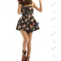 Floral Print Summer Love Rompers Black