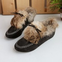 Medival England Style Fur Lining Shoes Black