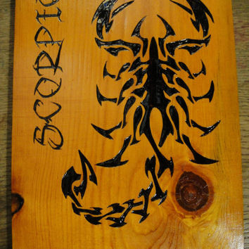 Scorpio Scorpion Hand Woodburned Plaque Zodiac sign Astrology Pyrography Horoscope