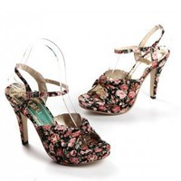 Rose Floral Print High Heel Pumps Black