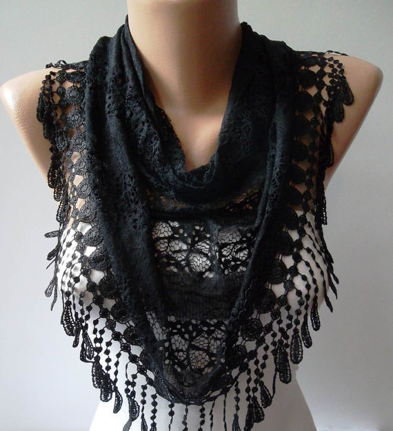Black Scarf with Black Trim Edge - Laced Fabric --- New