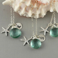 Set Of 3 Monogram Necklaces,Bridesmaid Gift, Beach Wedding, Sea Green Quartz, Sterling Silver Starfish Charm, wire Wrapped Gemstone, Aqua