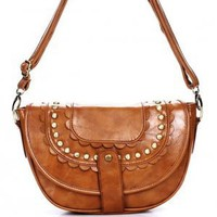 Fold-in Bohemian Vintage Style Camel Brown Satchel
