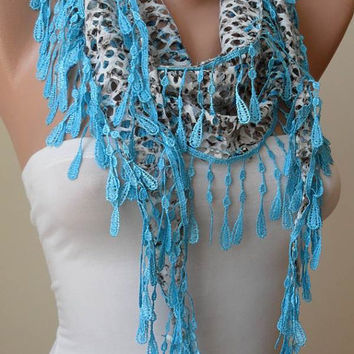 ON SALE - Perforated Fabric - Blue Scarf with Trim Edge