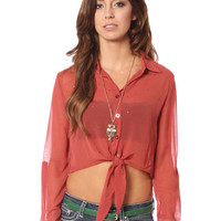 Papaya Clothing Online :: STUDDED SHEER KNOTTED BLOUSE