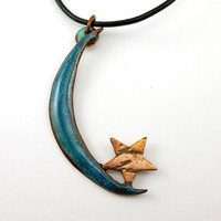 Enamel Blue Crescent Moon and Star Necklace