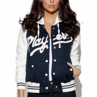 Navy Players Long Sleeve Baseball Jacket