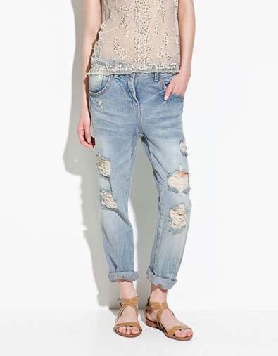 RIPPED BOYFRIEND JEANS  Trousers  ZARA from ZARA