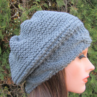 True Gray Hand Knit Hat, Beret Hat in True Gray, Spring and  Winter Women Accessories, madebyfate