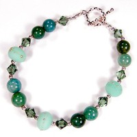 Kryptonite Lampwork Bead And Agate Gemstone Sterling Silver Bracelet
