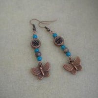 Copper Butterflies Earrings by IllusionsbyDonna on Zibbet