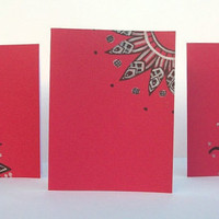 Deep Red Hand Drawn Note Cards - Set of 3 - Envelopes incluuded