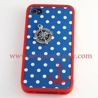 Anchor iPhone 4 Case, iPhone 4s Case, Blue and White dot, Nautical Anchor Hard Case, with a compass