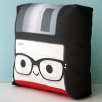 Handmade Gifts | Independent Design | Vintage Goods Mini Floppy Disk Pillow - Nerd Edition!
