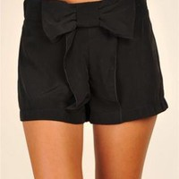 Black Shorts with Cute Bow Front
