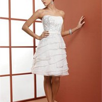 Elegant Strapless lace beaded white Short simple Wedding Dresses WDSP0025