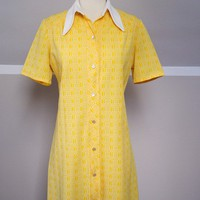 SALE 50s Bright Yellow House Dress