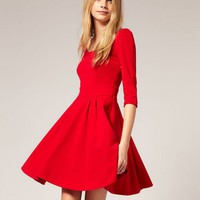 Women Scoop Slim Waist Red Mid Sleeve Autumn Polyester and Viscose A Line Mini Length Dress S/M/L@II0044r $16.99 only in eFexcity.com.