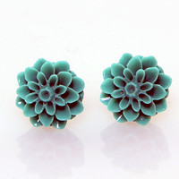 Vintage Turquoise Lucite Mum Post Earrings - Unique Vintage - Homecoming Dresses, Pinup & Prom Dresses.