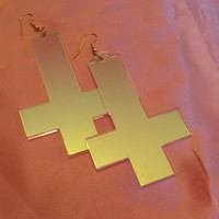 Radiant Acrylic Inverted Cross Earrings