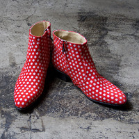 white polka dots with red beatle boots  - FREE SHIPPING