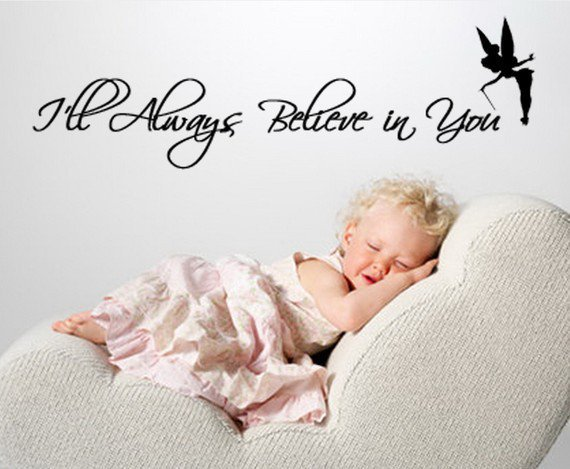 Tinkerbell Walt Disney Vinyl Wall Quote I'll always believe in you