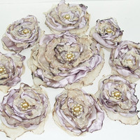 Tea Stained Satin Flower Accessories, Bridesmaids, Hair Clip or Brooch, Bridal Sash, Wedding