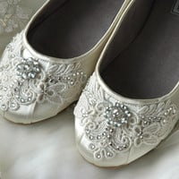Wedding Shoes, Ballet Flats, Vintage Lace, Swarovski Crystals, Women's Bridal Shoes