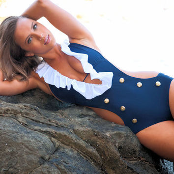 Ruffled Sailor One-Piece Navy Custom Monokini Swimsuit