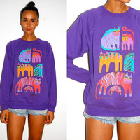 Vtg Colorful Cats Purple Printed Laurel Burch Sweater
