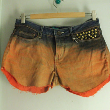 Orange Dip Dyed and Studded Denim Shorts