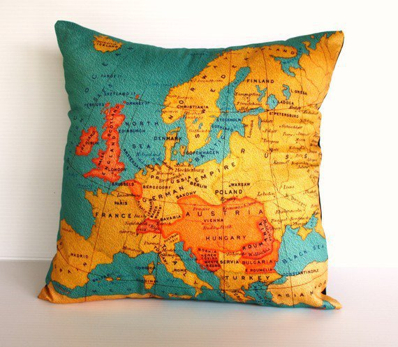 vintage map EUROPE map cushion Organic cotton Vintage Europe cushion cover, pillow cover, pillow 16 inch