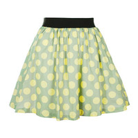 Retro Dots Cotton Yellow Skirt [NRBS0131] - $50.99 :