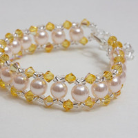 Glass pearl and Swarovski sunny bracelet