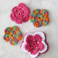 Set Of 4 Crochet Flowers. on Luulla