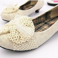 Mori Girl Fashion Vintage Style Countryside Lace Bow Pumps Beige