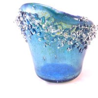 Dichroic Fused Glass Votive Candle Holder Aqua Blue 085