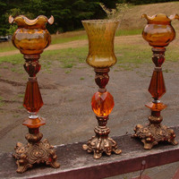 Vintage Goth Victorian Brass and Amber Candle Holders