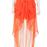 Women Euro Style Vintage Empire Waist Chiffon Asymetrical Orange Dress S/M/L@TS120424o $29.90 only in eFexcity.com.