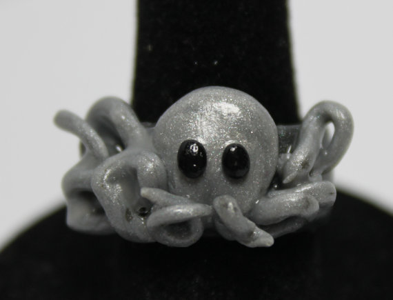 Silver Octopus Ring Adjustable Metal and Polymer clay