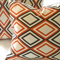 Modern pillow cover orange brown  16 x 16
