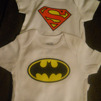 Baby Superhero Gift Pack. Batman and Superman Onesuits/ Bodysuits. Can Be Customized By Size.