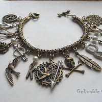 Steampunk Hunger Games Charm Bracelet,antique brass Mockingjay and Katniss's bow and arrow BHG03
