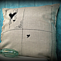 Organic Linen Pillowcase - Goth - Handembroidered Black Hearts - Handstitching