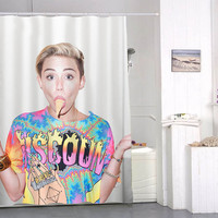 miley cyrus ice cream face special custom shower curtains that will make your bathroom adorable