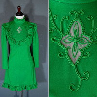 70's Mini Dress / 1970's Prairie Dress / Green / Embroidered